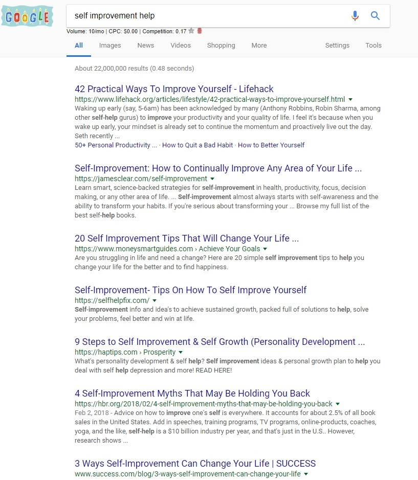 "Screenshot of Google SERP for ""Self-improvement Help"" 2/27/2018"
